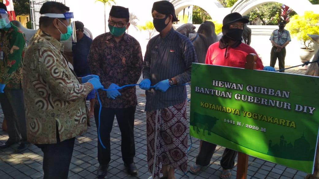 Penyerahan Hewan Qurban dari Gubernur DIY kepada Pemerintah Kota Yogyakarta di Kepatihan
